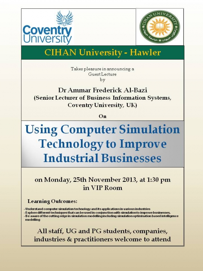 "Seminar titled ""Using Computer Simulation Technology to Improve Industrial Businesses"""