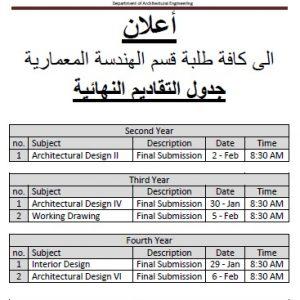 جدول التقاديم العملية النهائية