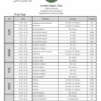 SCHEDULE OF CLASSES FOR DEPARTMENT OF INTERIOR DESIGN