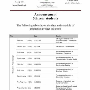 Graduation Project Time Table
