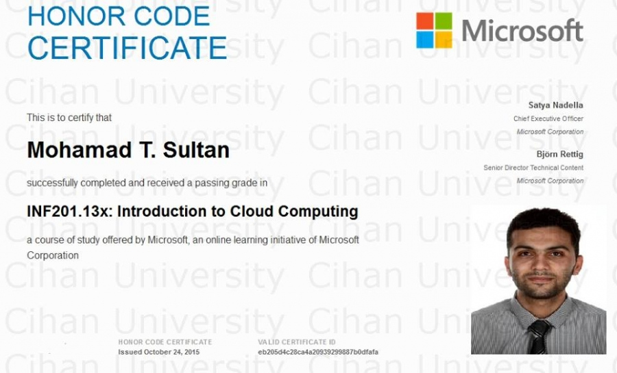 One of our lecturers aworded a certificate from Microsoft