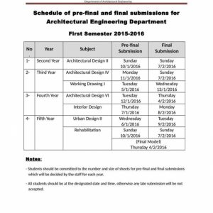 Schedule of Pre-Final and Final Submissions