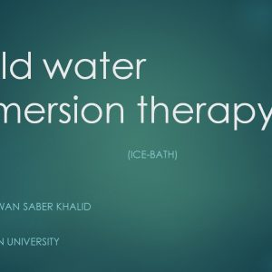 Cold Water Immersion Therapy, a seminar by Mr. Sherwan Saber Khalld