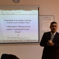 Dr. Luqman M. Saeed Head of Accounting Department delivered a seminar