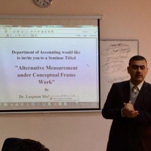 الدكتور لقمان محمد سعيد رئيس قسم المحاسبة يلقى سيمنار