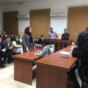 The fourth stage's Students in the law department perform a virtual court