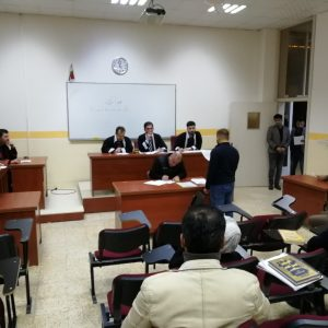 Performance of a virtual court for the second stage's/ evening students in the Law Department