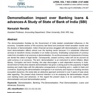 نشر بحث في مجلة journal of finance and banking studies