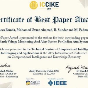 Dr. Mohamed U. Ahamed from the department of computer scince Won the Best Paper Award