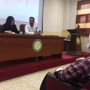 """Presenting a Seminar entitled """"The United Nations list of Decisions regarding Iraq"""" by two students of International Relation and Diplomacy Department"""